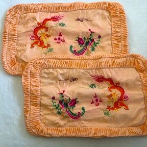 Chinese Dragon Embroidered Silk Pillow Case Shams